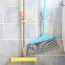 Home Wand Montiert Veranstalter Bad Lagerung Clamp Selbst Kleber Nail-freies Tür Mopp Haken Besen Halter Spurlose Pinsel