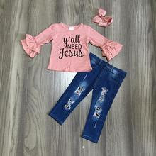 秋/冬の赤ちゃんのほこりピンクあなたすべての必要性イエスジーンズ長袖子供服ブティックパンツ服セット一致の弓