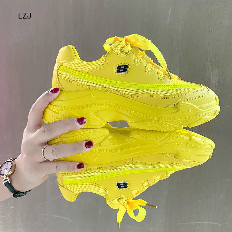 2019 New Designer Sneakers Women Platform Casual Shoes Fashion White Sneakers Platform Basket Femme Yellow Bling Casual  Chunky