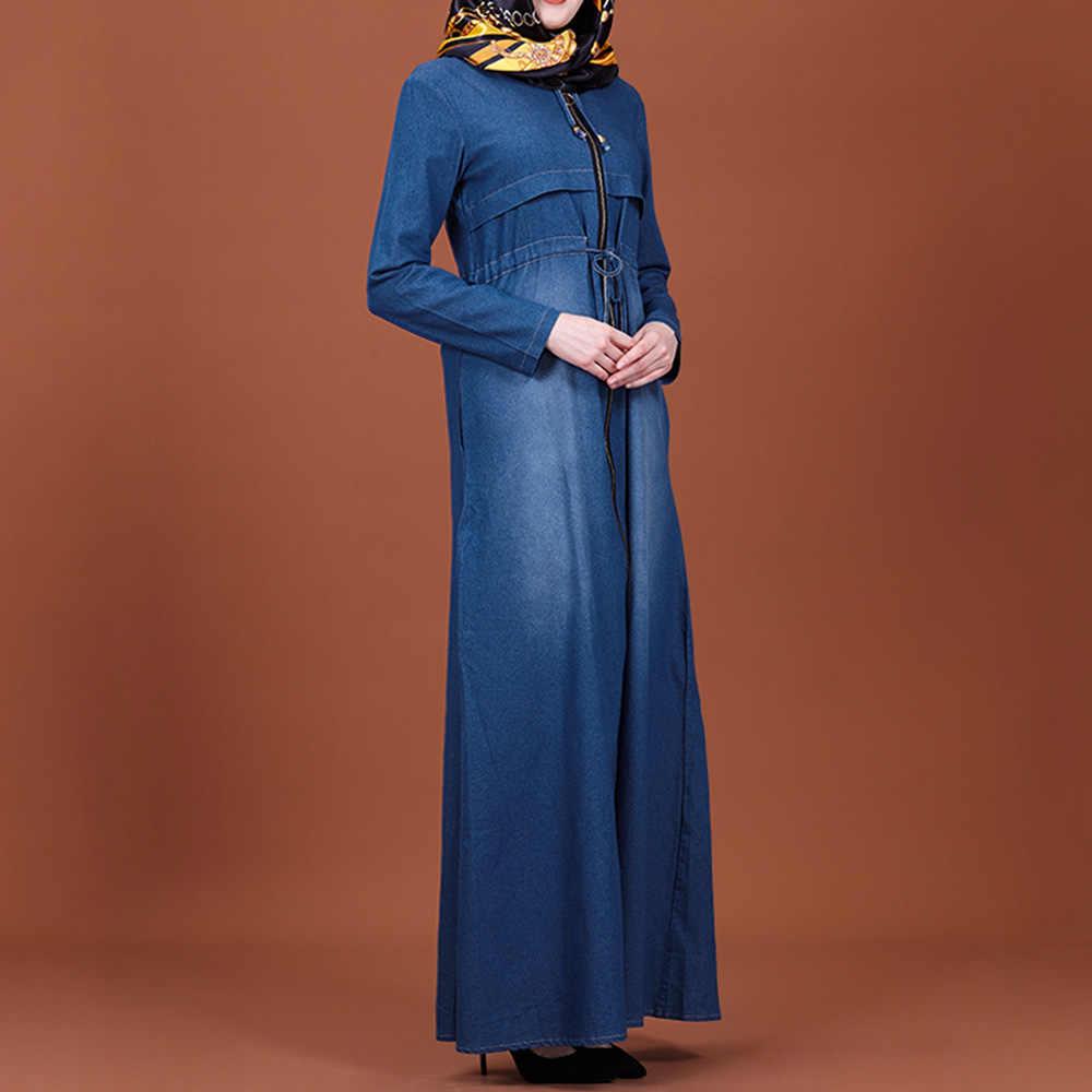 Vestido largo a la moda de mujer vestido de tela vaquera Kaftan Vintage hasta el tobillo Abaya Jilbab musulmán Maxi vestido liso islámico ropa 2XL