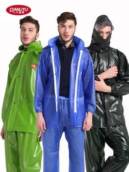 Transparent Large Hiking Adult Rain Pants Waterproof Travel Raincoat Hooded Outdoor Poncho Impermeable Men Rain Gear Set MM60YY