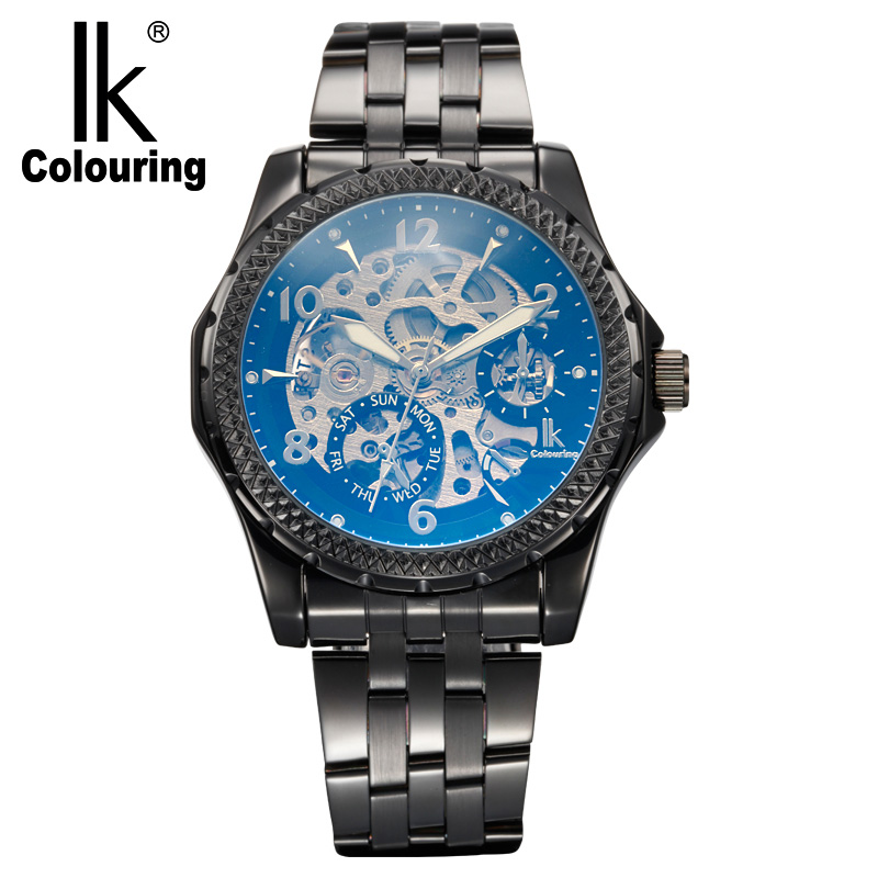 IK Colouring Watches Men Watches Hollow Skeleton Automatic Mechanical Watches Men Stainless Steel Watches Relogio Feminino