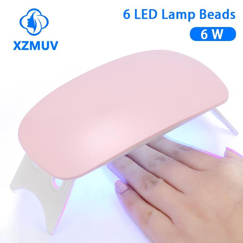 Xzmuv mini 6w máquina de secador de unhas portátil 6 led uv manicure lâmpada unhas cabo usb uso doméstico lâmpada do prego para unhas de secagem