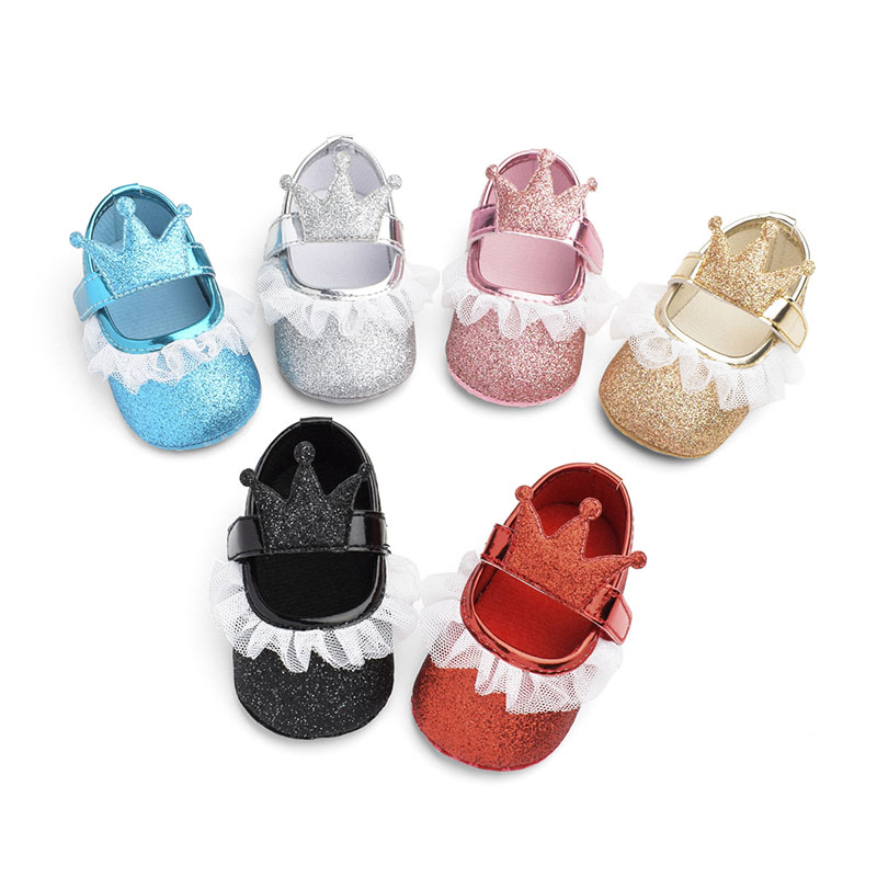 Yarn Lace Newborn Baby Shoes Non-slip Breathable Baby Prewalker Shoes For Girl 1Pair Toddler Soft Sole Baby Shoe With Crown