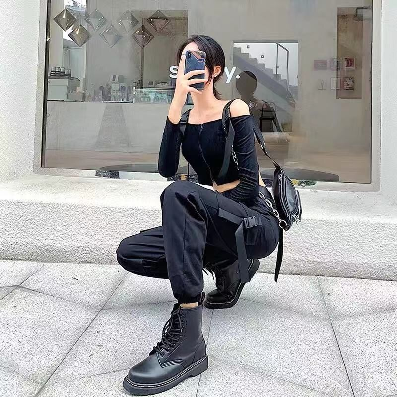 Women's Black High Waist 4 Pocket Strapped Cargo Pant
