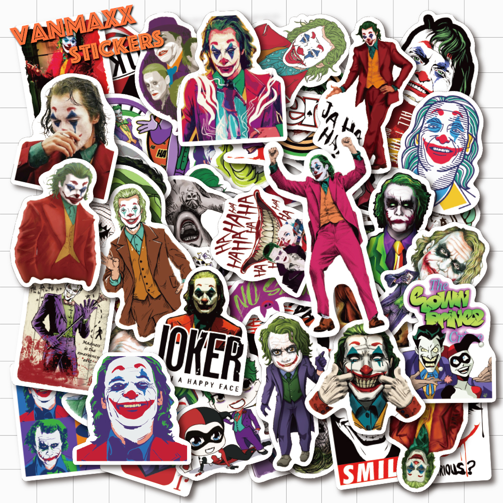 VANMAXX 50 PCS DC Villain Joker Clown Graffiti Stickers Waterproof Vinyl PVC For Laptop Helmet Bicycle Luggage Car