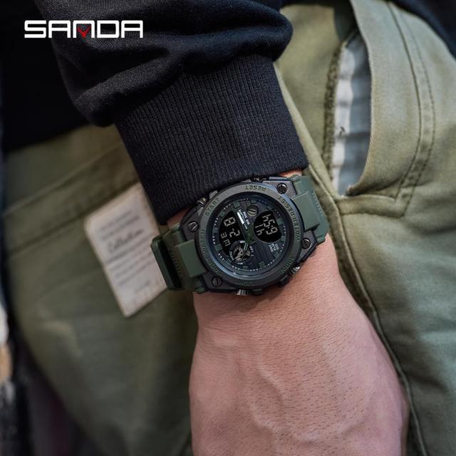 SANDA Top Luxury Watches Men Military Army Mens Watch Waterproof Sport Wristwatch Dual Display Watch Male relogio masculino