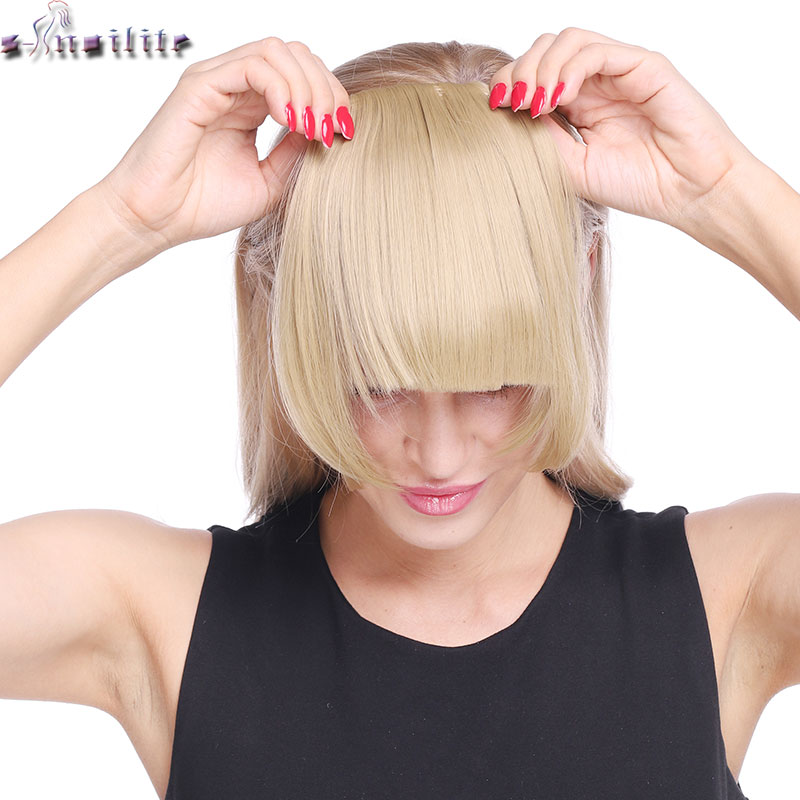 SNOILITE Clip In Bangs Hair Extensions Black Brown Blonde Fake Fringe Hairpiece 18colors Blunt Bangs For Women