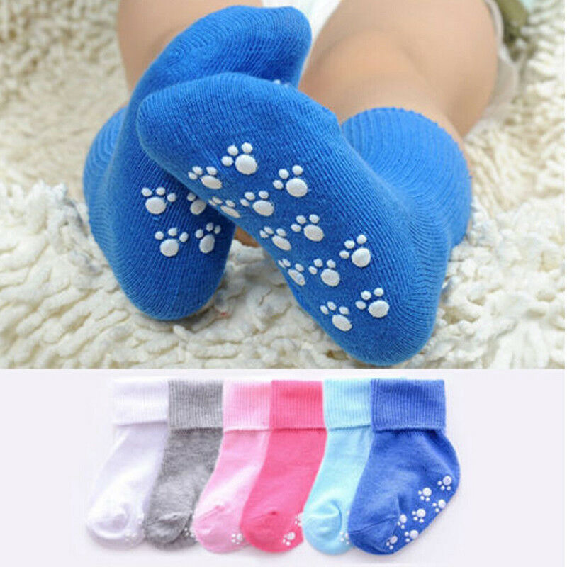 Anti Slip Baby Socks Rubbers Unisex Baby Girl&Boy Newborn Socks New Solid Color Infant Toddler Cotton Baby Sokken 0~6Y Kids Soft