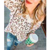 Boho Inspired V neck LEOPARD PRINT Pullovers sweaters women chic 2019 autumn winter knitted sweaters casual loose jumpers