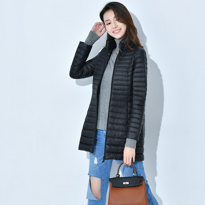 Long A Stand Lead   Down   Jackets Solid Color 2019 Self-cultivation Thin Suit-dress Leisure Time Loose   Coat