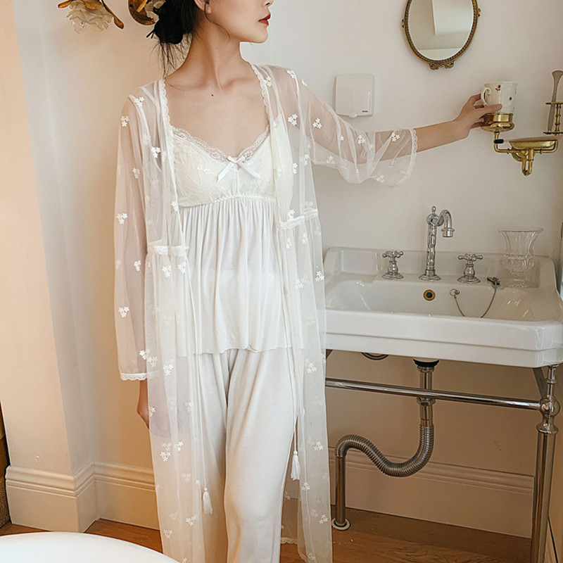 Pajamas Suit Ladies Sleepwear Summer Lace  Pyjamas 4pcs Lace Long Sleeve Robe Camisole Pajamas