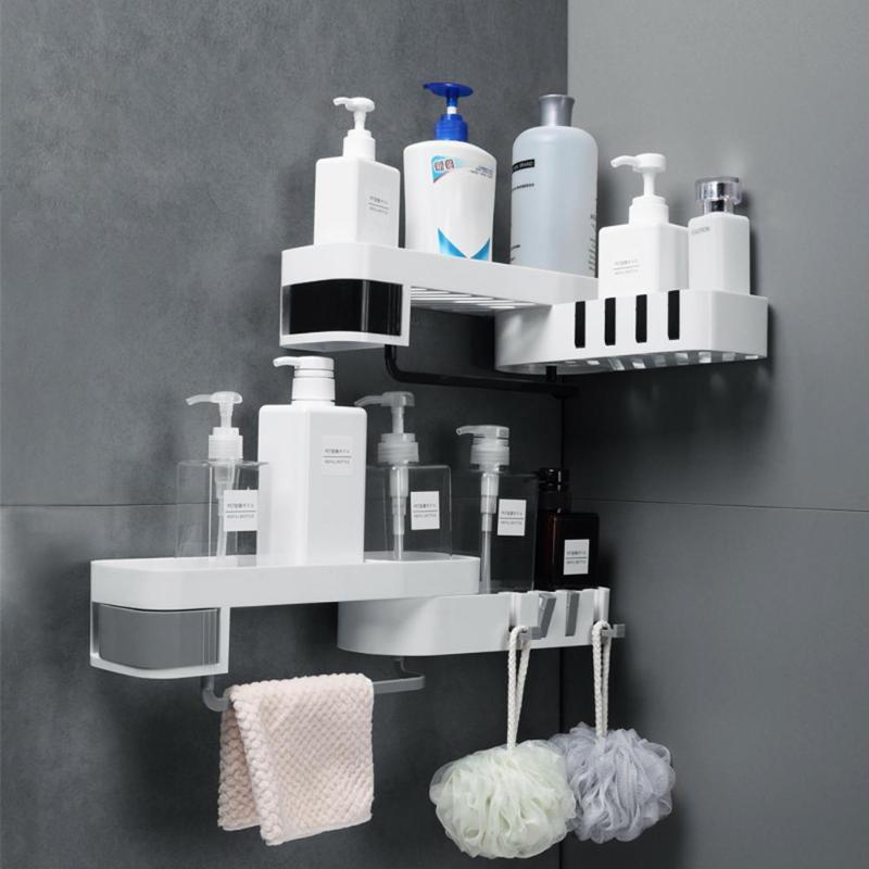 ABS Corner Shower Shelf Wall Mounted Drill-free Holder Kitchen Bathroom Household Tools Storage Organizer Shampoo Holder Rack