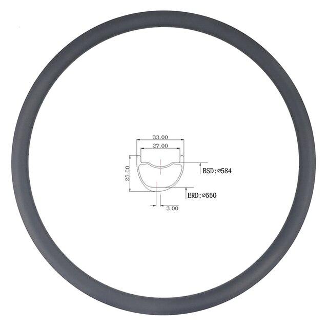 LIENGU limit 110Kg 350g 27.5er MTB XC 33mm x 25mm depth tubeless clincher asymmetric carbon rim cross country bicycle wheel 650B