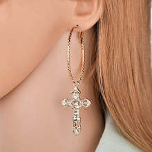 Yuedane 2019 Trendy Gold Silver Cross Crystal Earrings for Women Pendant Geometric Drop Party  Jewelry Brincos