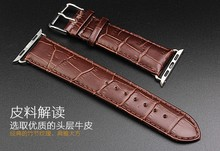 Series 5/4/3/2/1 crocodile Genuine Leather Loop link bracelet For Apple Watch band Connector 38mm 40mm 42mm 44mm