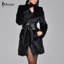 New arrival elegant winter coat women fur shaggy thick warm slim fit black belt pocket ladies imitation mink plus s-5xl