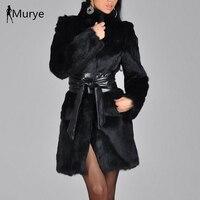 New arrival elegant winter coat women fur shaggy thick warm slim fit black belt pocket ladies imitation mink fur coat plus s 5xl