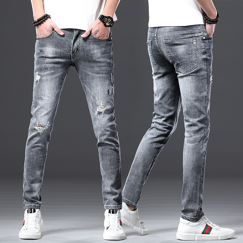 #1456 Retro Blue Grey Slim Ripped Jeans For Men Holes Casual Pencil Jeans Regular Fit High Quality Fashions Slim Denim Jeans