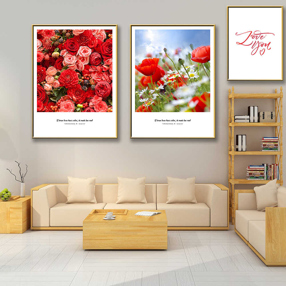 Modern Red Flowers Blossoming Wall Art Canvas Painting Nordic Posters And Prints Painting For Living Room Poster Decoration