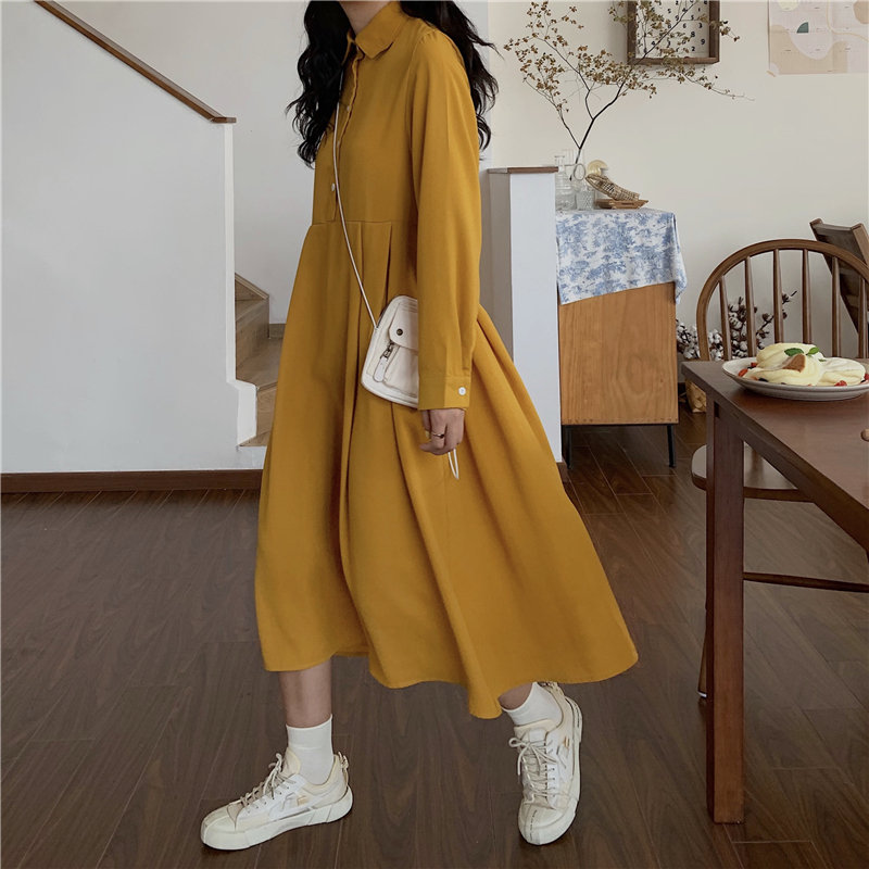 HziriP Girls Chic Sweet All-Match Cute Brief Fresh Fashion Women Vintage Women A-Line Female Elegant Autumn Retro Long Dresses