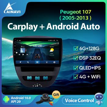 Radio samochodowe Ainavi dla Peugeot 107 Toyota Aygo Citroen C1 2005-2013 inteligentny multimedialny odtwarzacz wideo Stereo nawigacja GPS 4G Wifi tanie i dobre opinie CN (pochodzenie) podwójne złącze DIN 4*45w System operacyjny Android 10 0 1280*720 1 8kg bluetooth Wbudowany GPs Ekran dotykowy