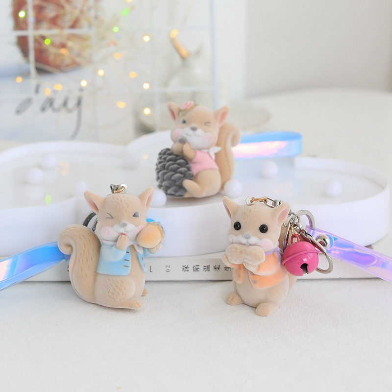 Cute Flocking Squirrel Doll Keychain Child Stuffed Toy For Women Girl Backpack School Bag Pendant Keyrings Kids Birthday Gift