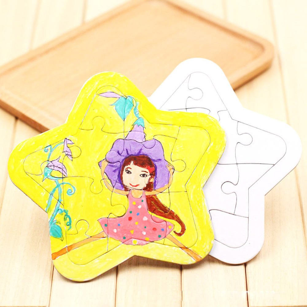 DIY Blank Coloring Puzzle Paper Toys White Mold Board Baby Production Puzzle Coloring Graffiti Painting Children Educational Toy
