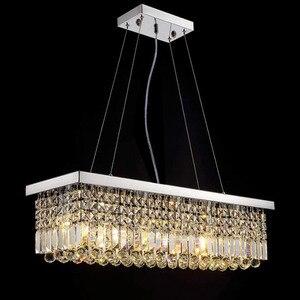 Image 3 - جديد الحديثة كريستال الثريا لغرفة الطعام مستطيل ثريا تركب بالسقف Manggic