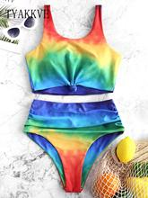 2019 new Tie Dye Knot High Waisted Tankini Swimsuit High Waisted Swimwear Women Push Up Bathing Suit Aesthetic Bikini Set XXL royal tie up front high waisted strings bikini set