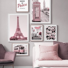 Pink City Bus Flower Building Tower Quote Nordic Posters And Prints Wall Art Canvas Painting Wall Pictures For Living Room Decor