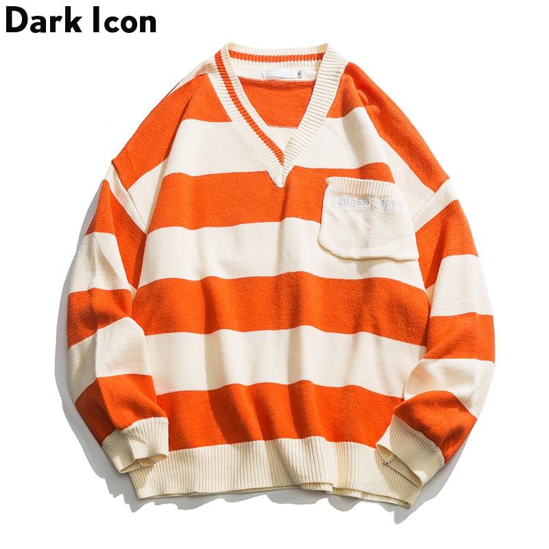 Sweater Men Clothing V-Neck Oversized Streetwear Striped Man Stereo-Pocket Dark-Icon