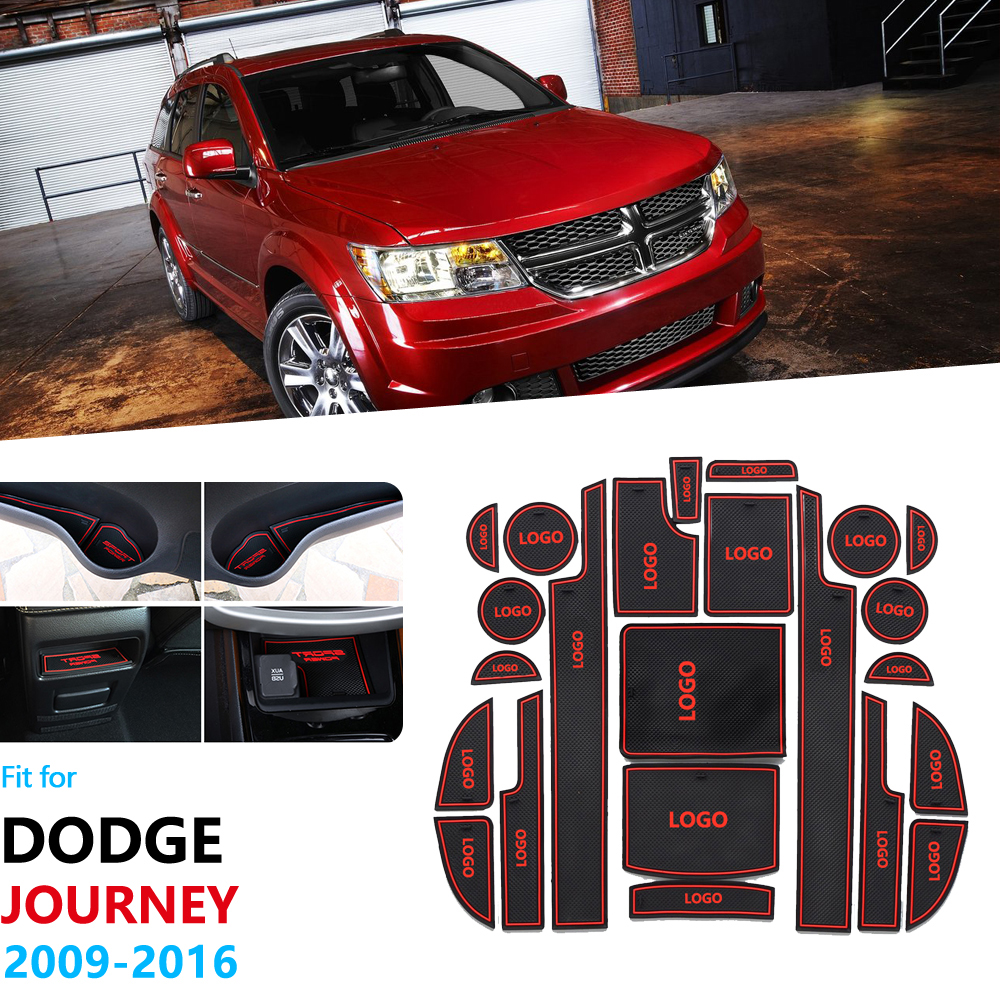 Anti-Slip Rubber Gate Slot Cup Mat For Dodge Journey JC Fiat Freemont 2009~2016 SRT R/T Accessories Car Stickers 2010 2012 2015