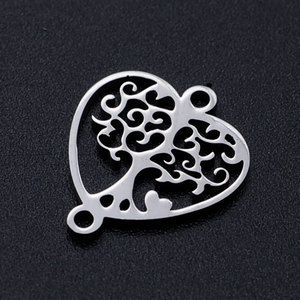 5pcs/lot Heart Tree of Life diy Connector Charms Wholesale 100% Stainless Steel Never Rust Laser Cut Jewelry High Polished(China)