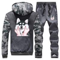 Animal Dog Gesture Boy Warm Suit Men's Thick Hoodies Lovely Siberian Husky Print Sweatshirt Men Winter Jacket+Pants 2 Piece Sets