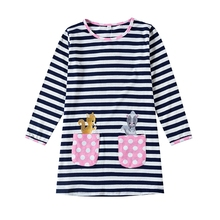 Girls Long Sleeve Dress Embroidered Pocket Cotton Autumn New Wearing Dresses for Kids HH702