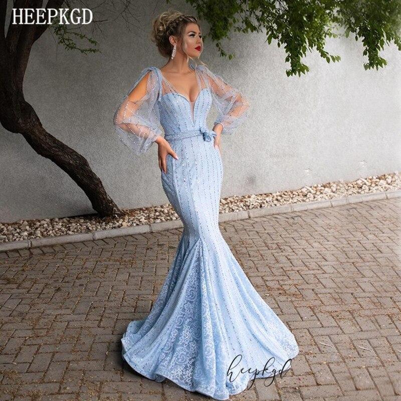 Bleu menthe manches longues sirène arabe Robe De soirée col en V perles dentelle 2019 nouveau bal femmes robes personnaliser Robe De soirée