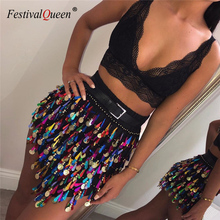 FestivalQueen 魅力的なスパンコールタッセルビーチ女性のセクシーな夏の基本的なパーティークラブショートスカート女性のための
