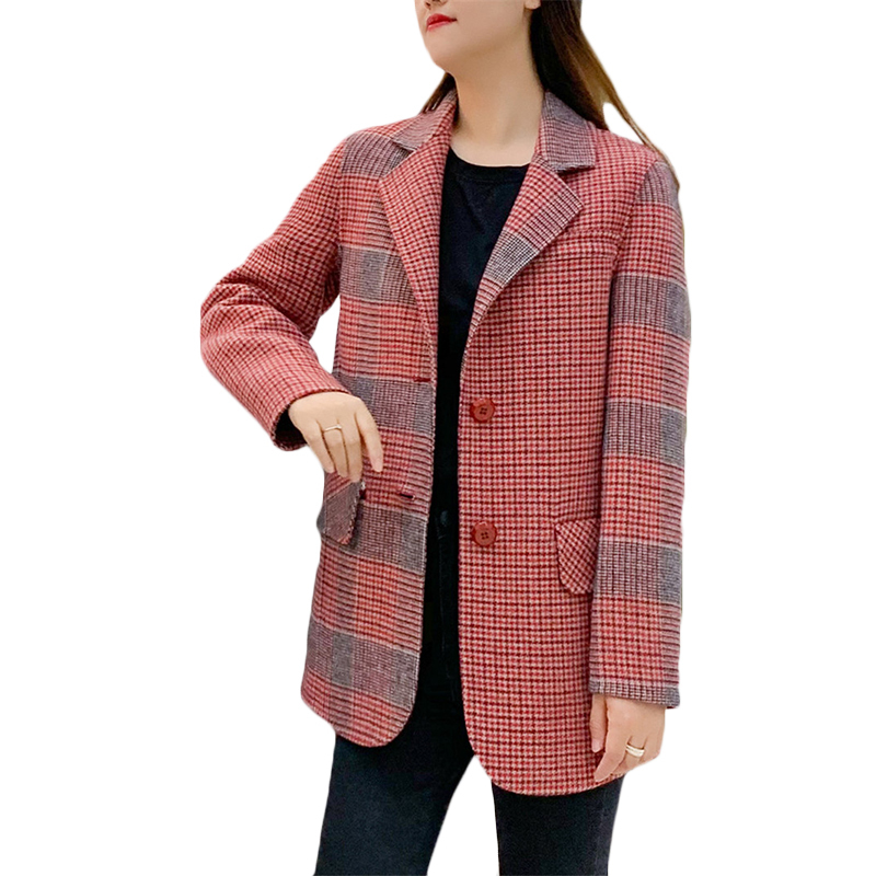 Quality Double-sided Cashmere Coat Womens Casual Long Wool Suit Jacket Spring Winter New High-end Korean Plaid Wool Blazer 2020