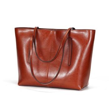 Genuine leather classic large handbag