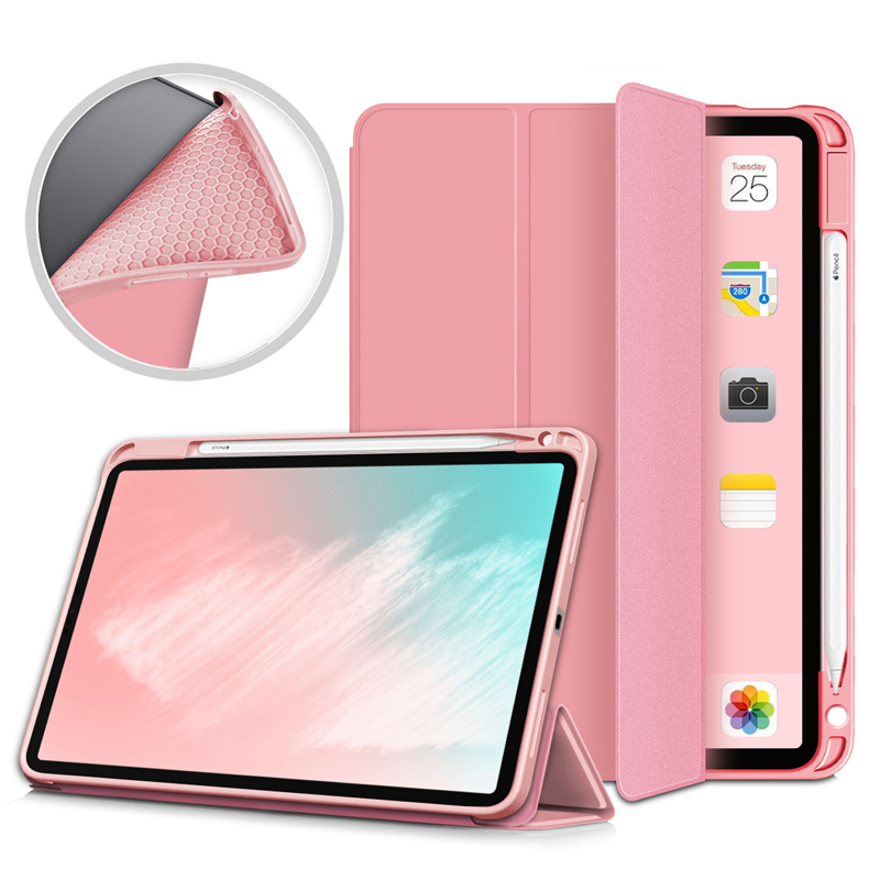 Pink Green Pencil Holder Case For iPad Air 4 10 9 inch 2020 A2324 A2072 Flip Stand PU