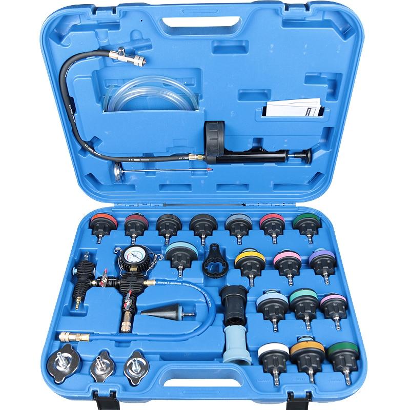 Widely Used 28pcs Universal Radiator Pressure Tester Kit Vacuum Type Cooling System Car water Tank Leak Detection Detector Tool| |   - AliExpress
