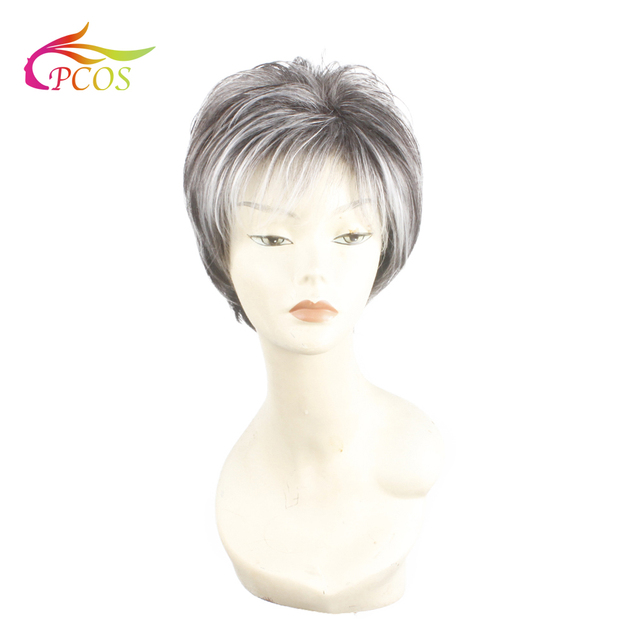 Women Wig Grey White Ombre Synthetic Short Layered Curly Hair Puffy Bangs Heat Resistant Wigs for Dear mother