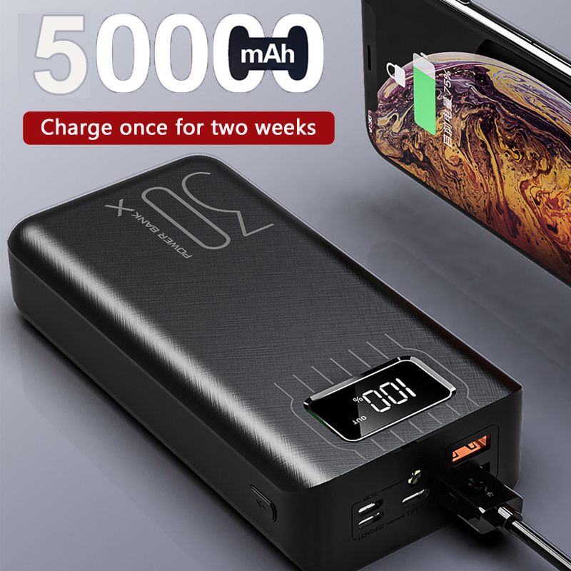 50000mAh Power Bank Portable Charging Poverbank Mobile Phone External <font><b>Battery</b></font> Charger Powerbank <font><b>50000</b></font> <font><b>mAh</b></font> for Xiaomi Mi image