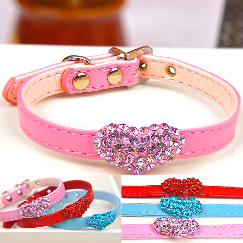High-End Japanese-style Amigo Drilling Heart Pet Pu Neck Ring Dogs And Cats Neck Circle