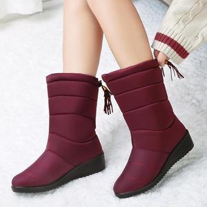 Image 5 - Botas de inverno de neve botas femininas mid calf botas à prova dwaterproof água round toe bottines femme palmilhas senhoras sapatos mulher franja para baixo botas mujer