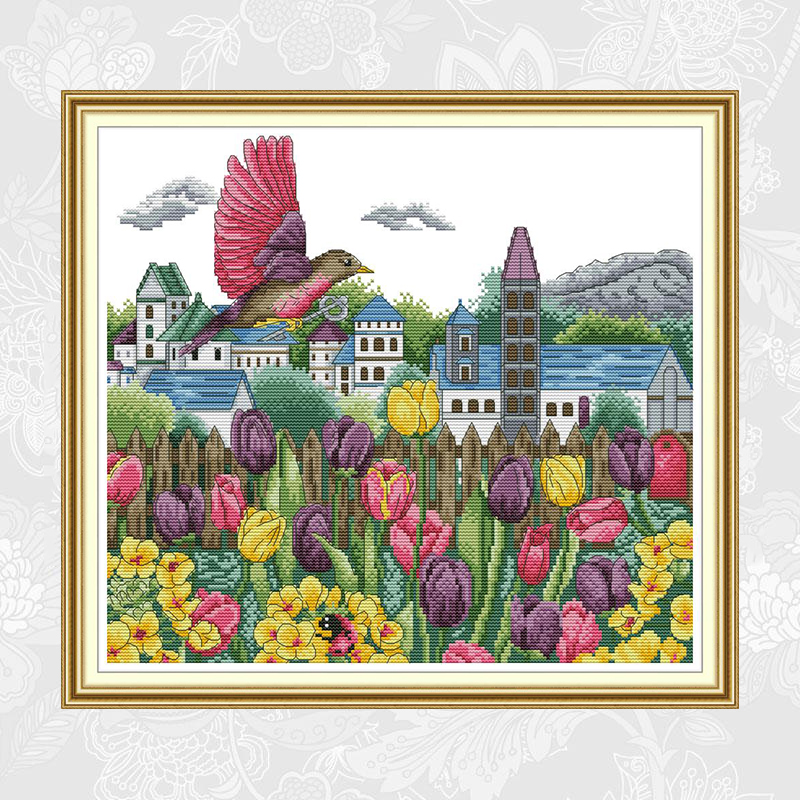 Tulips and Birds Patterns Counted Cross Stitch kit Sale DMC Cotton Thread Embroidery Set DIY Handmade Home Decoration Crafts in Package from Home Garden