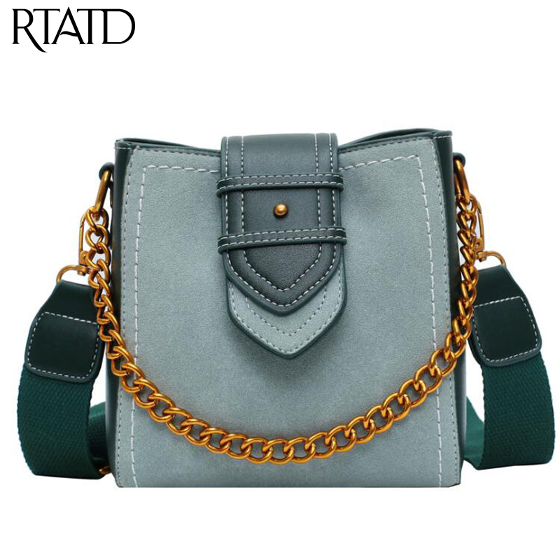 Fashion Scrub Women Bucket Bag Vintage Chain Messenger Bag High Quality Retro Shoulder Bag Simple Crossbody Bag Tote