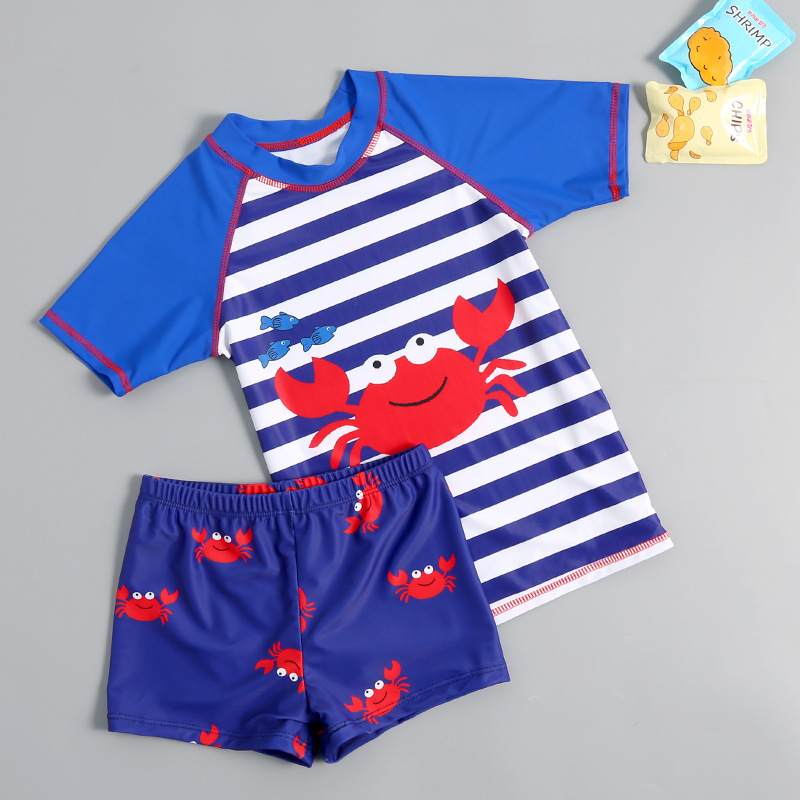 2019 New Style Hot Sales Two-piece Swimsuits Send Topee Short Sleeve Shorts Stripes Cartoon Navy BOY'S KID'S Swimwear