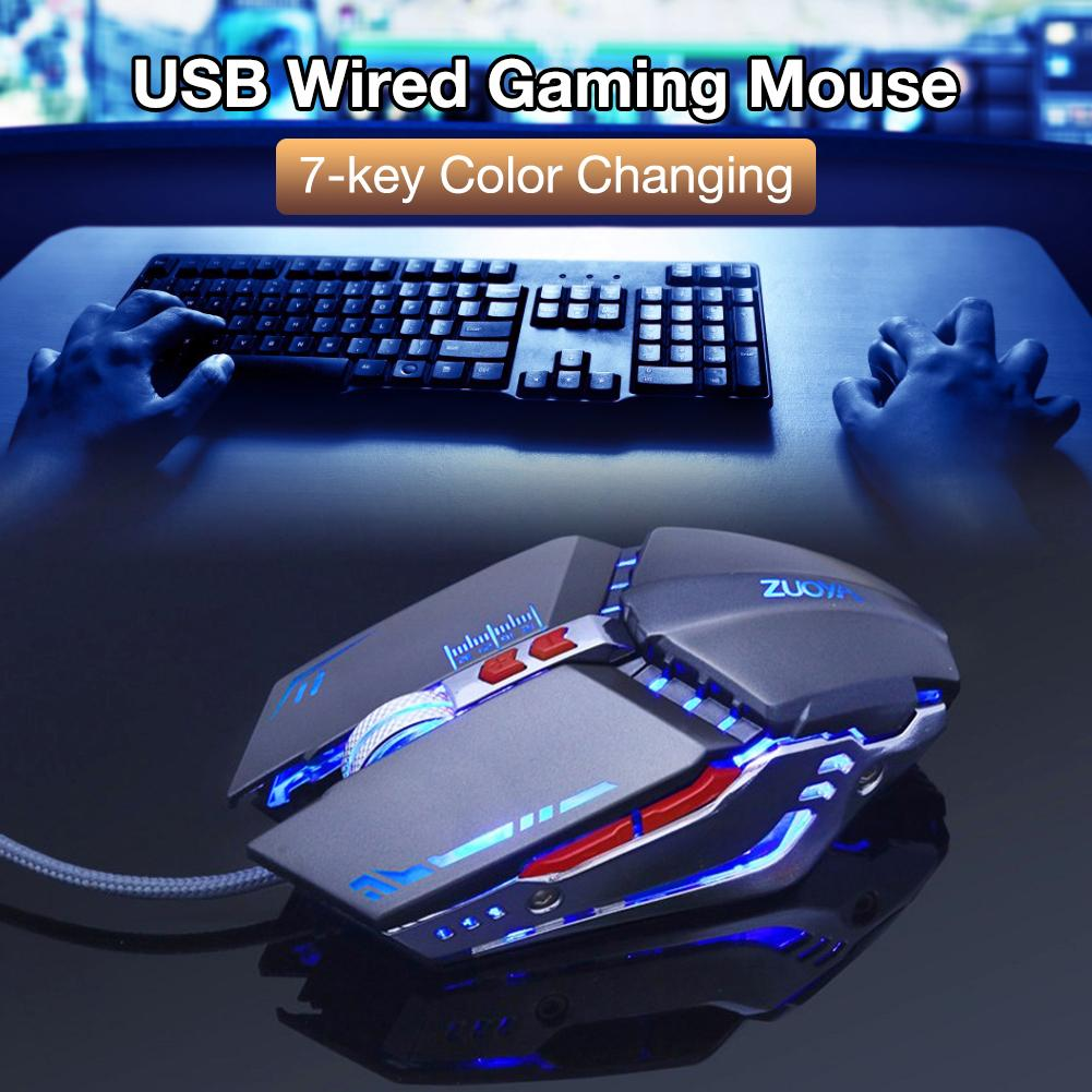 Optical Mice Ergonomic Gaming USB Wired Mouse 4 Color Breathing Light DPI3200 Mouse for Laptop Desktop Computer